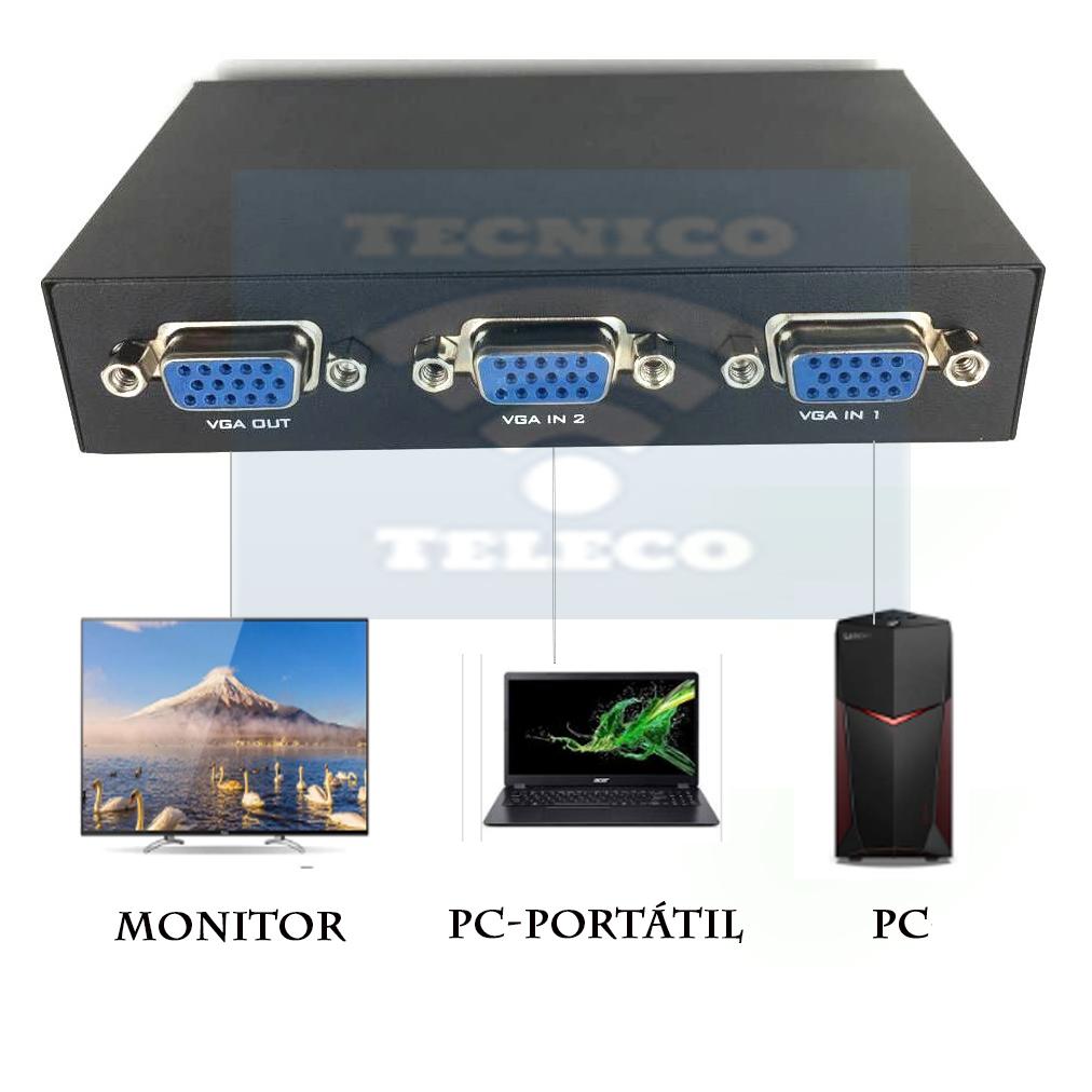 Prueba de equipos duttek 2 puertos VGA switch 2 en 1.